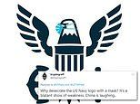 US Navy draws mockery after adding a mask to the eagle in service branch's logo on Twitter