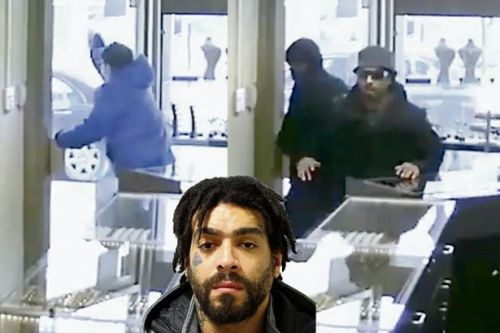 Jewellery store raiders in security door farce as video shows panicking thief being freed by passer by
