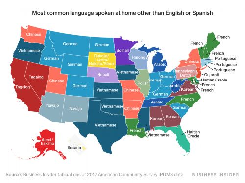 This map shows the most commonly spoken language in every US state, excluding English and Spanish
