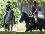 Lady Louise Windsor, 16, joins her father Prince Edward on ahorse riding hack in sunny Windsor