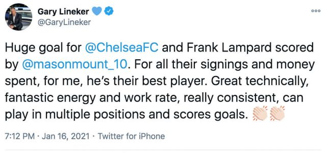 Gary Lineker makes Mason Mount claim after Chelsea FC's 1-0 win at Fulham