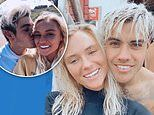 Love Island's Lucie Donlan takes Luke Mabbott for his first surf one day after confirming romance