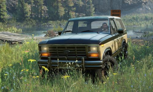 This SnowRunner mod adds a classic 1983 Ford Bronco