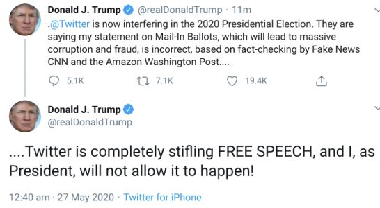 Furious Trump says 'anti-free speech' Twitter is 'interfering in election' after it adds 'fact-checks' to his posts