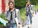 Zoe Hardman cuts an effortlessly chic figure in a tweed and leather jacket