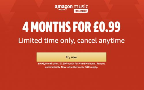 Get 4 months of Amazon Music Unlimited for just 99p - for a limited time only