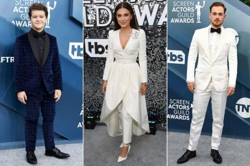 Millie Bobby Brown wows in chic suit as she joins Strangers Things stars at SAG Awards