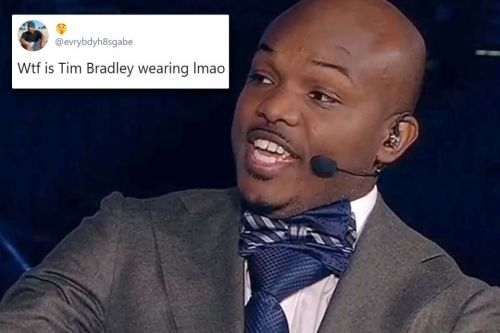 Timothy Bradley stuns TV viewers with tie AND bow tie combo in huge fashion faux pas as pundit for Fury vs Wilder 2