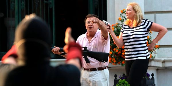 A white man waving an AR-15 around in front of his mansion says much more about America than you'd think