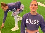 Jennifer Lopez posts silly video of herself 'waiting for her cue' on the football field