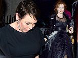 The Crown's Olivia Colman and Helena Bonham Carter keep party spirit going as they head to Annabel's