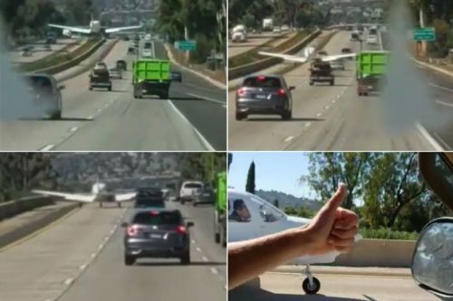 Nail-biting moment PLANE lands in the middle of busy road as cars frantically dodge out of the way