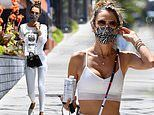 Alessandra Ambrosio oozes chic sporty as she showcases statuesque figure in sports bra and leggings