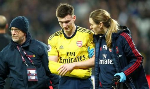 Arsenal star Kieran Tierney forced off with possible dislocated shoulder against West Ham