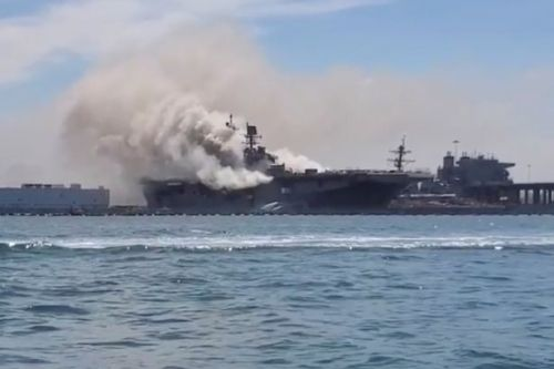 Sailors injured after explosions and huge fire breaks out on US Navy battleship