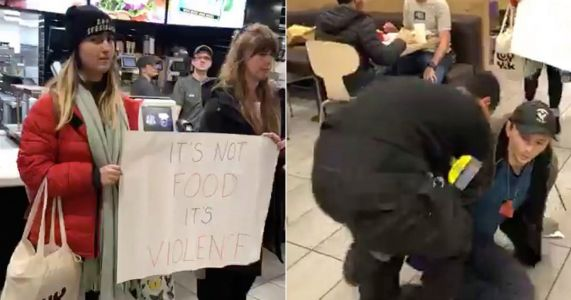 Vegans protesting against 'speciesism' dragged out of McDonald's by bouncer