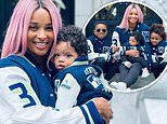 Ciara and her three children rock head-to-toe Seattle Seahawks gear for Russell Wilson