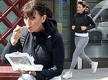 Davina McCall enjoys a bite to eat as she keeps up with her fitness routine while going for a run