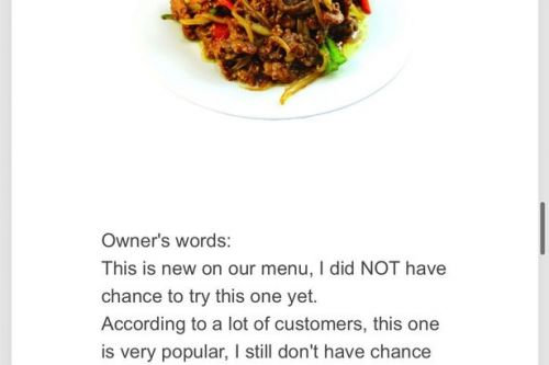 Chinese restaurant owner praised for 'extremely honest' menu descriptions