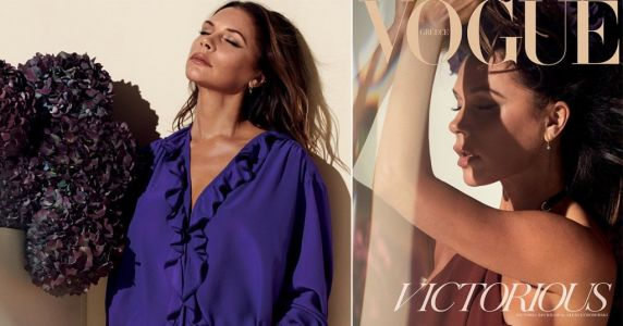 Victoria Beckham sun worships in short shorts as she looks back on her achievements for Vogue's 'victory' issue