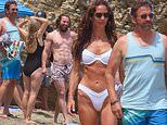 Gerard Butler and Morgan Brown enjoy a beach day with Aaron Taylor-Johnson and his wife Sam in LA
