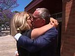 Woman embraces her partner outside court as he walks free from domestic violence charges