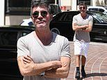 Simon Cowell dons a casual grey tee and white shorts as he arrives to film AGT