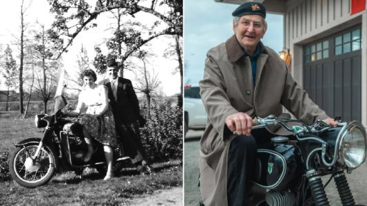 Amazing moment widower, 90, is reunited with beloved motorbike after 60 years apart