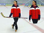 Rebekah Vardy uses hockey stick during her Dancing On Ice rehearsal amid Coleen Rooney legal battle