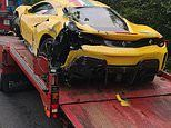 Luxury £250,000 Ferrari supercar flips over onto its roof in Peak District crash on wet A-road