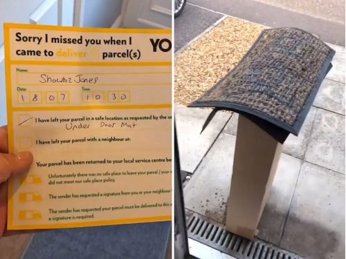 Resident left laughing after delivery man drops off enormous parcel 'under doormat'