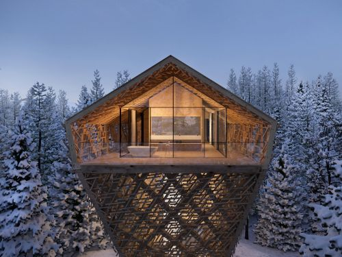 An architect designed luxury 'treehouse hotels' towering above a remote forest in a medieval Austrian ski town - here's a closer look