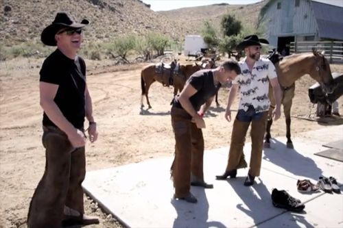 Gordon, Gino and Fred struggle to get into cowboy gear for next hilarious adventure American Road Trip leg