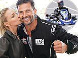 The Bachelor's Anna Heinrich places a kiss on husband Tim Robards' cheek after go-kart race win
