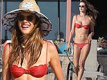 Alessandra Ambrosio shows off stunning figure in red bikini at beach with friends in Marina del Rey