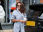 Michelle Keegan nails utility chic in a pinstriped jumpsuit