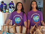 Teen sisters start nonprofit to give bags filled with food and toiletries to the homeless