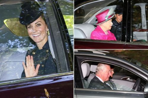 Smiling Kate Middleton and William join Queen as they head to church at Balmoral