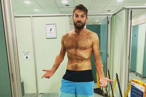 JJ Chalmers shows aftermath of Strictly tan but his rock-hard abs steal the show