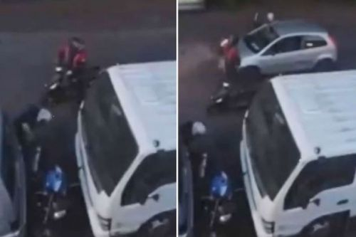 Vigilante in Ford Fiesta gets brutal revenge on two men 'trying to steal moped'