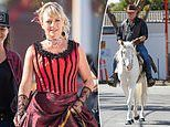 Shelley Craft wears a corset while Scott Cam rides a white horse as they The Block promo