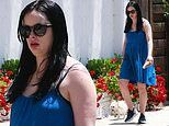 Krysten Ritter conceals her baby bump under drapey babydoll dress as she takes her dog for a walk