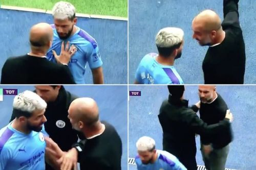 Pep Guardiola argues with furious Sergio Aguero after Man City star substituted