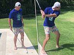 Rory McIlroy does keep-ups with his CLUB as he practices his skills amid golf's suspension