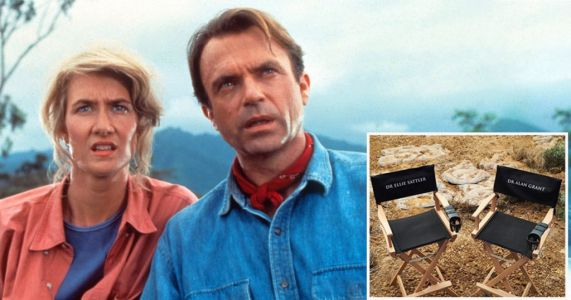 Sam Neill and Laura Dern make themselves at home on Jurassic Park set with personalised chairs