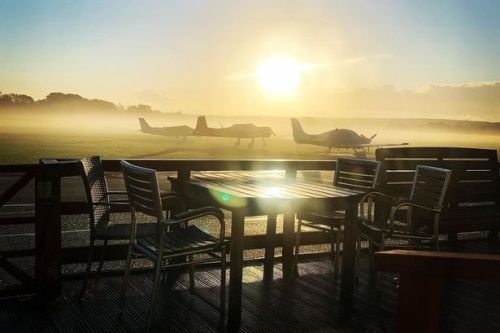 Brasserie and coffee shop next to airfield is plane spotter's paradise