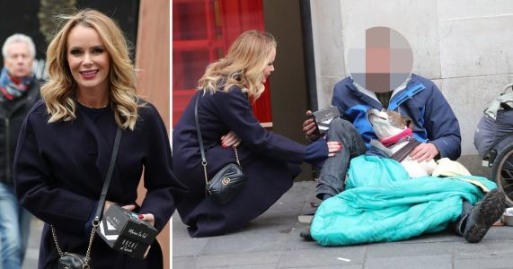 Amanda Holden gives homeless man a burger as she promises to do more random acts of kindness