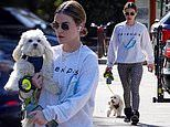 Lucy Hale looks casual in a grey sweater and animal print leggings during low-key dog walk in LA