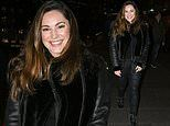 Kelly Brook looks uber-stylish in leather jacket and matching leggings