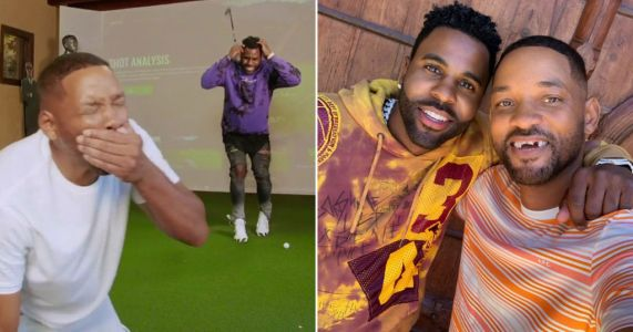 Will Smith gets front teeth knocked out by Jason Derulo in golf swing prank and we can never un-see this
